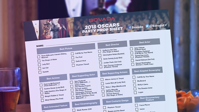 Bet on the 2018 Oscars Prop Odds at Bovada